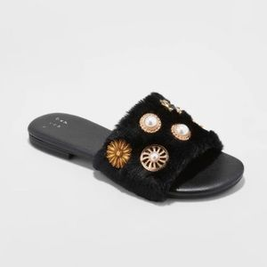 A New Day Rose Brooch Faux Fur Sandals